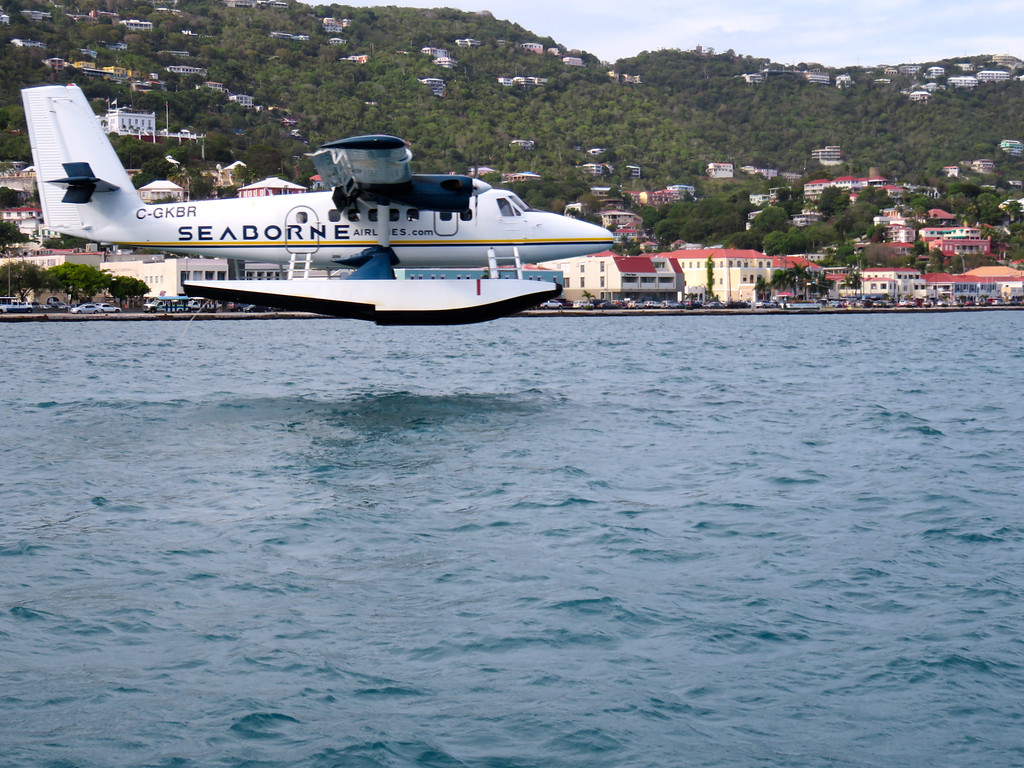 St Thomas Seaplane Landing From Boat Ride From Zip Lining On Tortola BVI May 2016