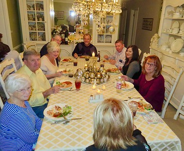 Judy & Terry Jarvis, Dee & Steve Sandhop, Rob Doti, Denny & Katrina Jarvis, Ann Bellmor At Mary & Rob Doti's Home 2016 Christmas Eve In Terre Haute, IN 12-24-16