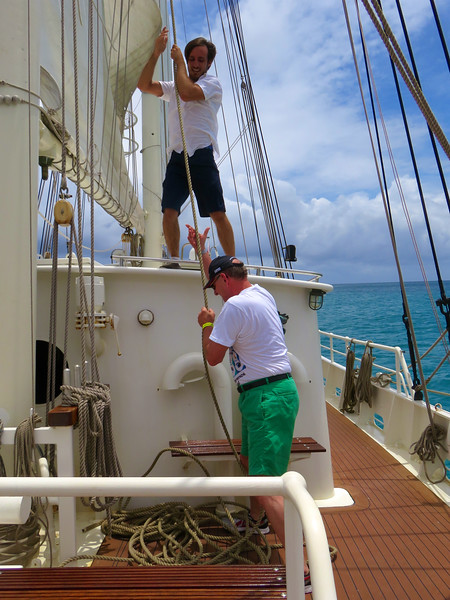Russell Raising A Sail On Schooner In Caribbean At St. Maarten May 2016