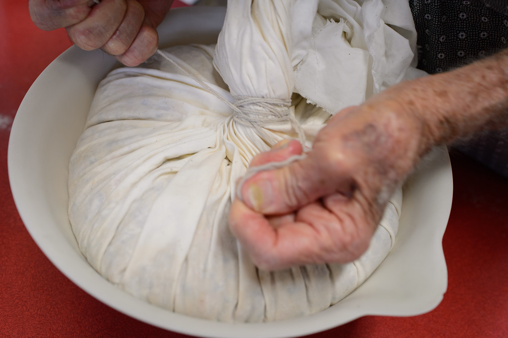 Preparing and tying-off the pudding in the cloth before cooking -  Stage 2 / Day 2 - 2016 Christmas Pudding
