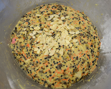 Adding Sliced Almonds - Stage 2 / Day 2 - 2016 Christmas Pudding