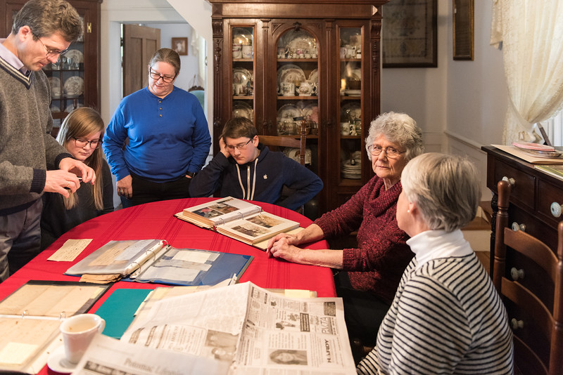 At the Kotz home we examine historical documents while Carrollyn Kotz chats with Katie Kotz.