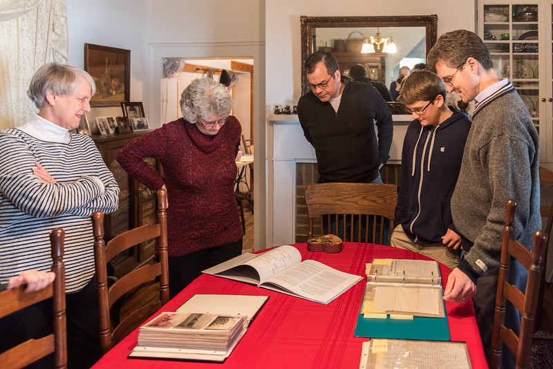 At the Kotz home we examine historical documents while Carrollyn Kotz reviews Dad's new photo book.