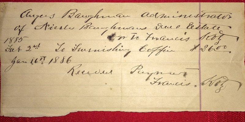 A receipt for a coffin produced by Francis Kotz in 1886.