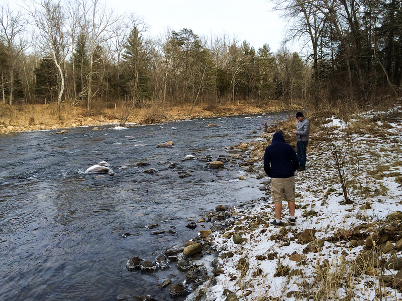 Andy and Pete on the bank of Cacapon River, just downstream of the island.