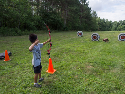 Nolan's arrow finds the target, family archery at Cleary Lake Park