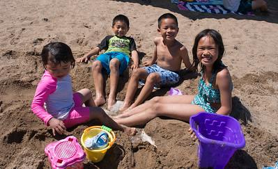 Julia, Jonathon, Nolan, and Lindsay enjoying a foot spa, Baker Park  Reserve