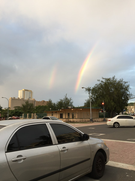 A double rainbow above the Fujita Road sewage pumping station