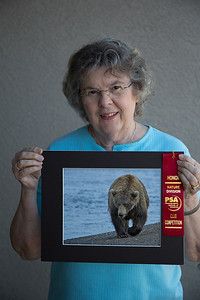 "Jan with ""Bear Walking"" which won Honorable Mention in the Photographic Society of America regional contest"