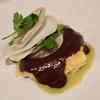 A fun appetizer:  Heirloom Corn Tamale.  Braised Short Rib, Salsa Verde, Mole Negro