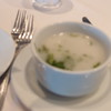We ate all dinners (except one) at the main Dining Room. Very good food.  This is a cold coconut and basil soup.