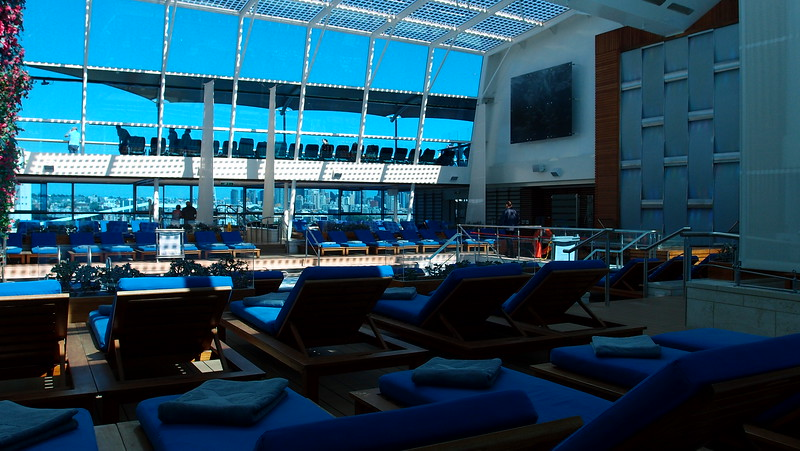 Adults-only solarium (indoor pool). Very hot and humid inside.