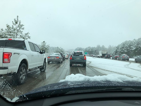 Snow Day Bellmor's Traffic Going To Pickup Ann At Hospital 12-8-17