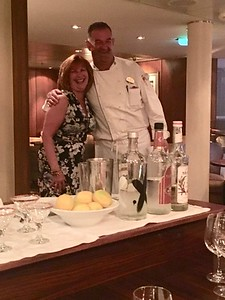 Ann Bellmor With The Chef At Chef's Table Dinner Allure of The Seas Cruise May 2017