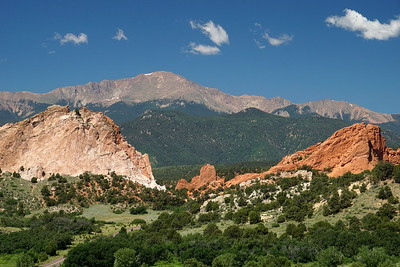 Pikes Peak seen across the Garden of the Gods at Colorado Springs.