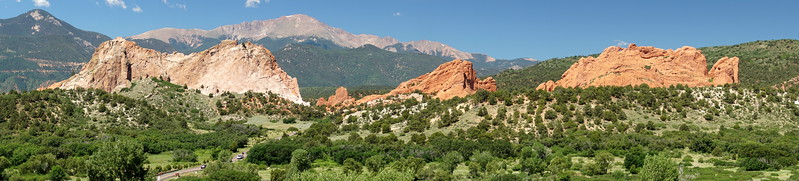 Pikes Peak and Garden of the Gods panorama at Colorado Springs.