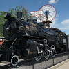 Steam locomotive and windmill at Lamar, CO railroad station