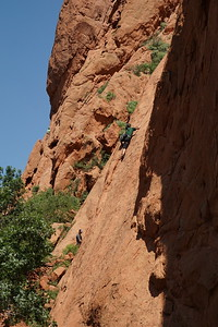 Climbers on rock at Garden of the Gods, Colorado Springs