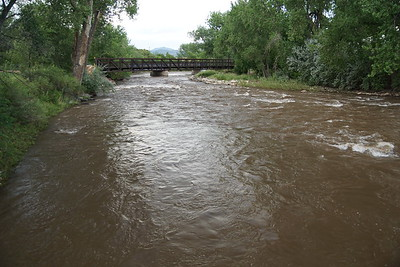 Arkansas River and walk bridge at Canon City