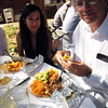 Judy and Lee enjoy the Mexican-themed wedding feast