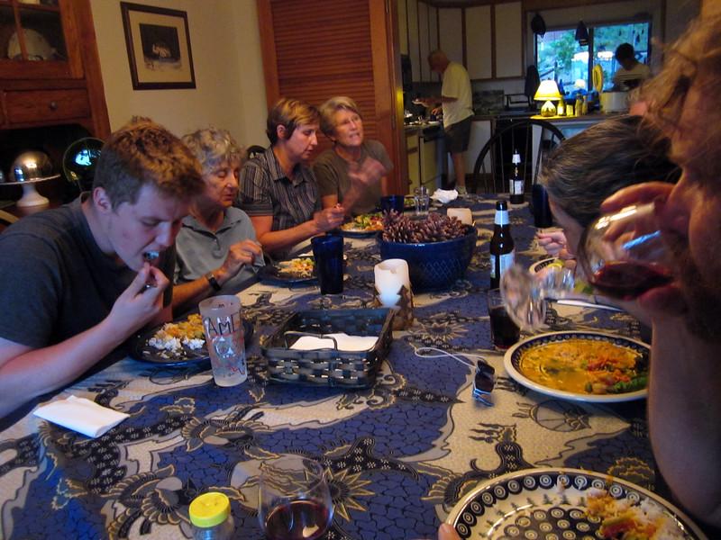 Family reunion time before the Aug. 12 wedding--Elias, Lili , Frannie, Diana and  more, enjoying a meal