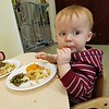 First school lunch at toddler table