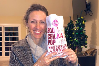 "I loved the comment made by my Danish neighbor Tina. When she saw the white chocolate and peppermint popcorn, she exclaimed, ""Is there anything you can't get in America?!"""