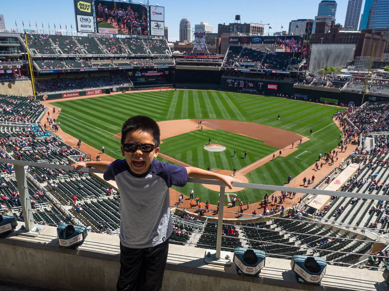 Nolan at Twins vs Red Sox, Target Field