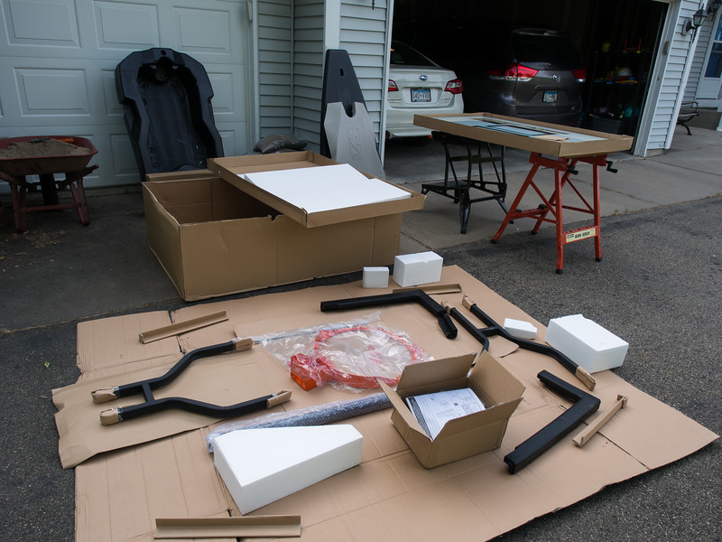 All the parts laid out for the new basketball hoop.