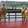 We went from Smurfs to bananas.  In the Niagara River Gorge with the Niagara River in the background.  Note the government issue matching sandals.  Our shoes are safely stowed in plastic bags.