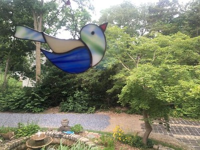 The beautiful bird, a gift from Hannelore and Heinz, hanging in our kitchen window where it will get maximum light