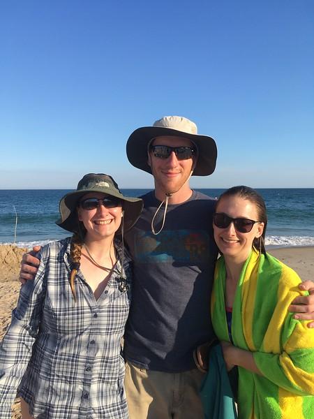 Freddy, Tom and Jessie on the beach