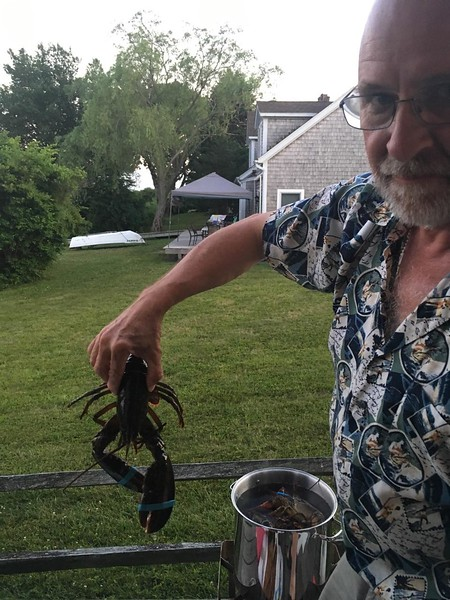 Meanwhile back at the house, it's time to boil the lobsters...