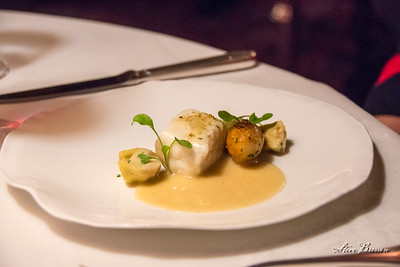 Butter-Poached Halibut with Sauce Barigoule and Caramelized Fennel