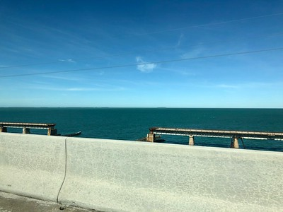 View From 7 Mile Bridge In Floirda Keys Where True Lies Movie Filmed Car Dropping Intto The Atlantic Ocean January 2018