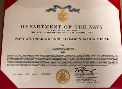 Morgan's Marine Corps Commendation Medal Certificate October 2018