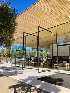 """Apple Park Campus """"The Mothership"""" Visitors Center Full Height Doors 2-13-18 02"""