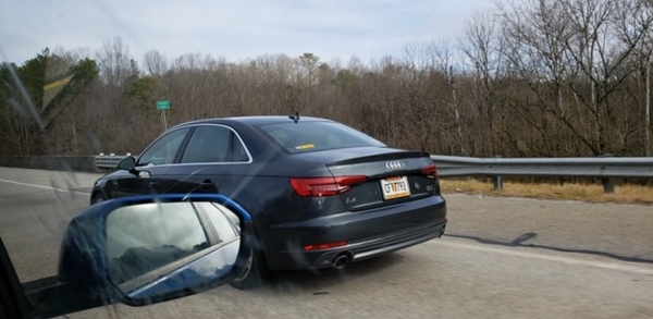 Morgan's Friend Jeff Passing Ann & Russell Driving Up To Blue Ridge 12-29-18.   Strange He Spotted Us & Sent Photo To Morgan!