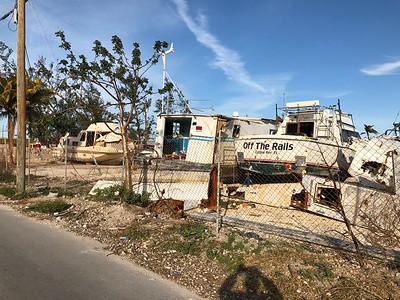 Boats Damaged From Hurricane Irma Next To Burdines Restaurant Marathon Florida Keys January 2018