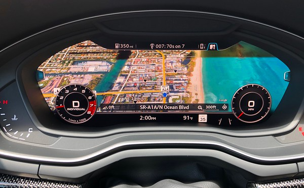 Russell's Audi S5 Virtual Cockpit Map Of Pompano Beach FL 9-28-18