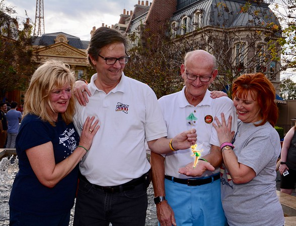 Kathy Collier & Tom O'Barr and Russell & Ann Bellmor With Tinkerbell Disney World December 2018 08