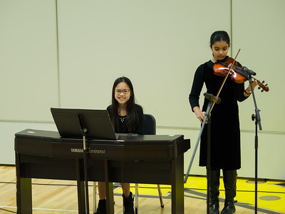 Lindsay and Harsha duet at the Metcalf seventh grade talent show