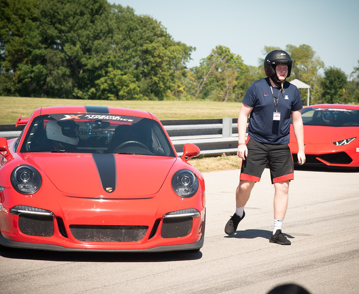 Putnam Park, Indiana - Connor's birthday visit to Xtreme Xperience to drive super cars on August 9, 2019. Connor after his 3 laps in the Porsche 311.