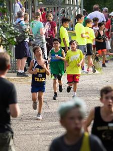 Nolan at halfway point, 6th grade cross country meet