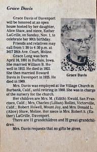 Grace Davis 90th Birthday party announcement. November 1, 1981.