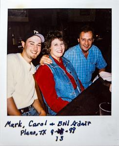 Mark, Carol & Bill Adair.  Plano, TX 9/13/1999.