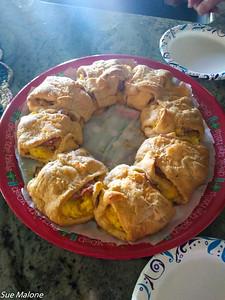 Deborah brought tasty ham egg and cheese rolls