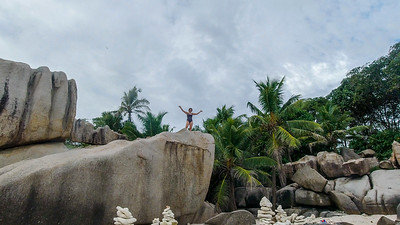 Anisa once again climbs a rock!