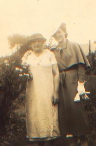 Kay-50: Emily (Granny MCKeown) and Maisie McKeown in garden at 203 Cupar Street