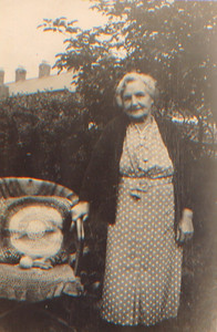 Kay-48: The back reads: Mammy (Emily (Granny) McKeown) in garden of 203 Cupar Street 1946